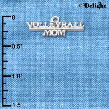 "C2168 - ""Volleyball Mom"" Silver Silver Charm"