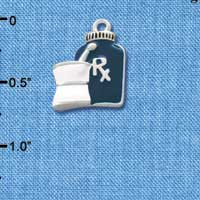 C1052 - Prescription Bottle - Blue - Silver Charm
