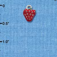 C1097 - Mini Enamel Strawberry - Silver Charm