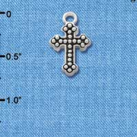 C1188 - Small Botonee Cross with Beaded Decoration - Silver Charm