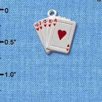 C1254 - Card Hand - Hearts - Silver Charm