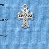 C1305 - Silver Scroll Cross with Antiqued Decoration - Silver Charm