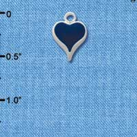 C1401 - Heart - Long Blue - Silver Charm Mini