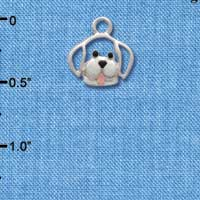 C1490 - Dog - Face Outline - Silver Charm Mini