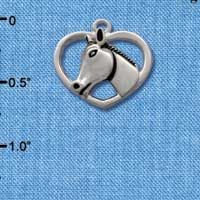 C1652* - Horse Head - Heart - Silver Charm (Left or Right)