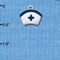 C2044 - Nurse Hat blue cross - - Silver Charm