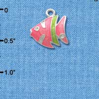 C2431* - Tropical Fish - Hot Pink with Lime Green Stripe - Silver Charm (Left or Right)