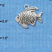 C2476* - Antiqued Fish - Silver Charm (Left or Right)