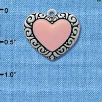 C2573 - Fancy Heart - Pink - Large Fancy Border - Silver Charm