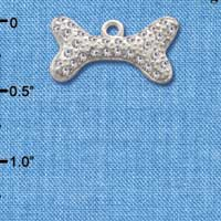 C2591 - Large Swarovski Crystal Dog Bone - Silver Charm