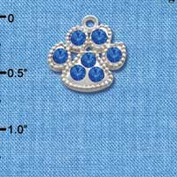 C2782 - Large Paw with Blue Swarovski Crystals - Silver Charm