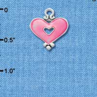 C2921 - Hot Pink Enamel Heart with Cutout - Silver Charm