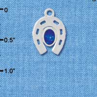 C3083 - Silver Horseshoe with Large Oval Sapphire Swarovski Crystal - Silver Charm