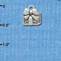 C3357 - Small Antiqued Silver Present - Silver Charm