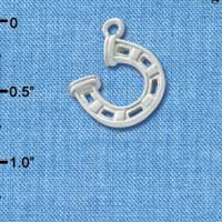 C3616 tlf - Silver Horseshoe with Side Loop - Silver Charm