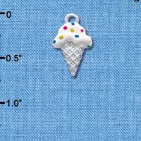 C3642 tlf - 2-D Vanilla Ice Cream Cone with Sprinkles - Silver Charm