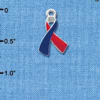 C3644 tlf - Red & Blue Awareness Ribbon - Silver Charm