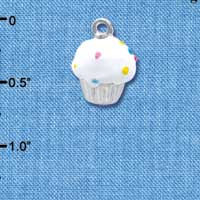 C3656 tlf - 3-D White Cupcake with Sprinkles - Silver Charm