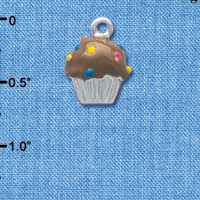 C3658 tlf - 3-D Chocolate Cupcake with Sprinkles - Silver Charm