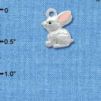 C3660 tlf - 3-D Silver Bunny - Silver Plated Charm