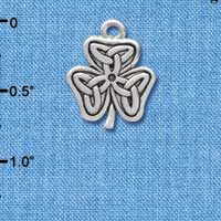 C3670 tlf - Silver Shamrock with Celtic Knot - Silver Charm
