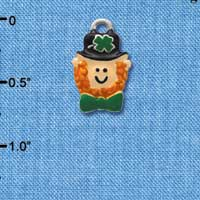 C3675 tlf - Small Leprechaun with Bow Tie - Silver Charm