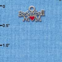 C3825 tlf - Basketball Mom with Red Heart - Im. Rhodium Charm