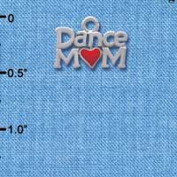 C3828 tlf - Dance Mom with Red Heart - Im. Rhodium Charm