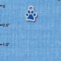C3896 tlf - Mini Translucent Royal Blue Paw - 2 Sided - Silver Charm
