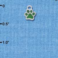 C3897 tlf - Mini Translucent Green Paw - 2 Sided - Silver Charm