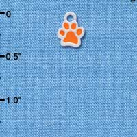 C3899 tlf - Mini Translucent Orange Paw - 2 Sided - Silver Charm