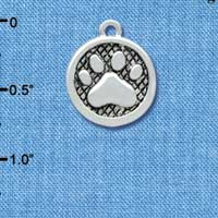 C3902 tlf - Paw in Circle - 2 Sided - Silver Charm