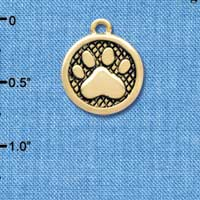 C3903 tlf - Paw in Circle - 2 Sided - Gold Charm