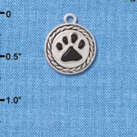 C3904 tlf - Black Paw in Rope Border - Silver Charm