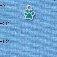 C3908 tlf - Mini Translucent Teal Paw - 2 Sided - Silver Charm