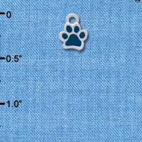 C3909 tlf - Mini Translucent Navy Paw - 2 Sided - Silver Charm
