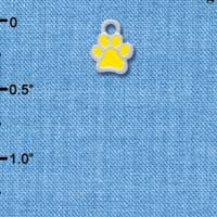 C3910 tlf - Mini Translucent Yellow Paw - 2 Sided - Silver Charm