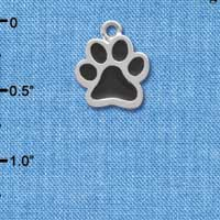 C3912 tlf - Medium Black Paw - 2 Sided - Silver Charm