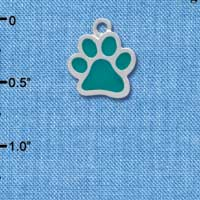 C3913 tlf - Medium Translucent Teal Paw - 2 Sided - Silver Charm