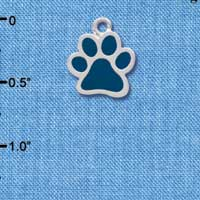 C3914 tlf - Medium Translucent Navy Paw - 2 Sided - Silver Charm