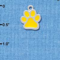 C3915 tlf - Medium Translucent Yellow Paw - 2 Sided - Silver Charm