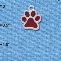 C3916 tlf - Medium Translucent Maroon Paw - 2 Sided - Silver Charm