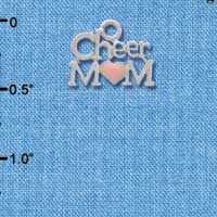 C3948 tlf - Cheer Mom with Pink Heart - Silver Charm