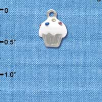 C4031 tlf - Small White Cupcake with Multicolored Swarovski Crystal Sprinkles - Silver Charm