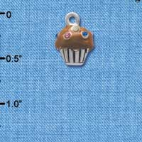 C4032 tlf - Small Chocolate Cupcake with Multicolored Swarovski Crystal Sprinkles - Silver Charm
