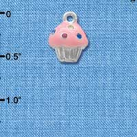 C4033 tlf - Small Pink Cupcake with Multicolored Swarovski Crystal Sprinkles - Silver Charm