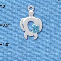 C4099 tlf - Open Sea Turtle with Pearl Blue Plumeria Flower - Silver Plated Charm