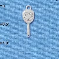 C4276+ tlf - 3-D Mirror with Heart - Silver Plated Charm