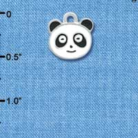 C4398 tlf - Enamel Panda Face - 2 Sided - Silver Plated Charm