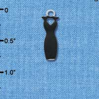 C4401 tlf - Little Black Dress - Silver Plated Charm